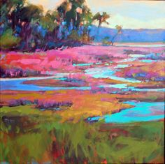 Savannah Georgia contemporary Artist voted best artist, co-owner of Chroma Gallery, voted best gallery 8 years running, plein air colorist Landscape and Encaustic Landscape Art, Landscape Paintings, Painting Inspiration, Art Inspo, Hue, Pond Painting, Impressionism Art, Elements Of Art, Portraits
