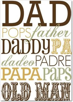 Dad In Type Fathers Day Cards. Because he deserves it. Send Dad a personalized Father's Day card filled with a sweet message and favourite photos Fathers Day Quotes, Fathers Day Cards, Happy Fathers Day, Wedding Paper Divas, Wedding Cards, Father's Day Clip Art, Daddy Day, Big Daddy, Dad Birthday Card