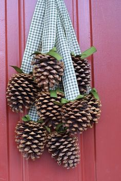 christmas crafts with pine cones - I used some rather ragged clothe cut in strips instead of ribbon - kind of 'rustic'. Hot glued the pinecones on.
