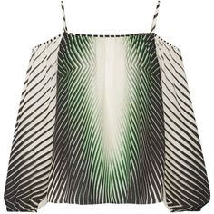 Tamara Mellon Off-the-shoulder printed silk blouse (€235) ❤ liked on Polyvore featuring tops, blouses, dark green, loose blouse, loose fit tops, loose off the shoulder tops, dark green silk blouse and off shoulder tops - white blouse long sleeve, green blouses and tops, white ruffle blouse *ad
