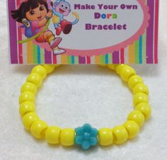 PARTY PACK Sets of 6 to 24 - Dora Bracelet Craft Kit by TeatotsPartyPlanning on Etsy https://www.etsy.com/listing/203953152/party-pack-sets-of-6-to-24-dora-bracelet