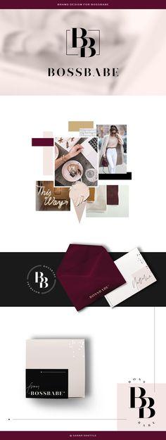 Brand design, brand board, brand styling for BossBabe. Baby pink and black colour palette, stylish branding, luxury branding, feminine branding. Brand design for female entrepreneurs. Logo design, submark,