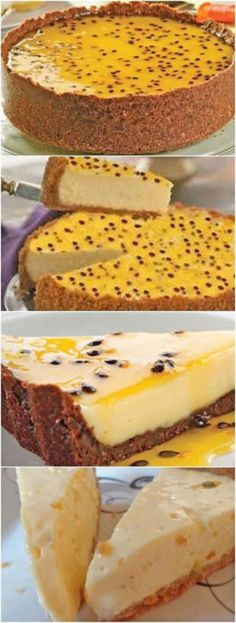 This passion fruit pie is so easy and so creamy it will surprise you! - pao e doces - Sweet Recipes, Cake Recipes, Snack Recipes, Dessert Recipes, Cooking Recipes, Snacks, Food Cakes, Cupcake Cakes, Fruit Pie