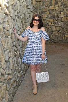 Blue and white cold shoulder dress