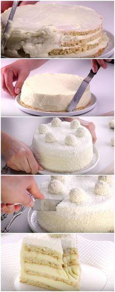 Torta de Raffaello: a perfeição em forma de torta! [ RECEITA FÁCIL ] #torta #sobremesa #tortaraffaello