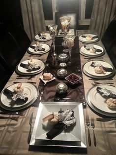 Our Thanksgiving black and silver Tablescape