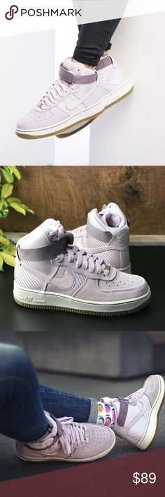 NWT Nike Air Force 1 Hi PRM Bleached Lilac WMNS Brand new with no lid box. Price is firm! This edition of the classic is dressed in a mix of bleached lilac and gum based colourway. It features a leather and textile upper in matching colourway with embossed snakeskin detail for style. The pair is crafted from suede to faux woven synthetic materials. It has lilac inspired swoosh logos on the sides and includes a set of lilac inspired laces. The pair sits on top of a contrasting white midsole…