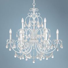 """$399.99   how about for the laundry room?  Stefana 29 3/4"""" Wide Rubbed White Chandelier -"""