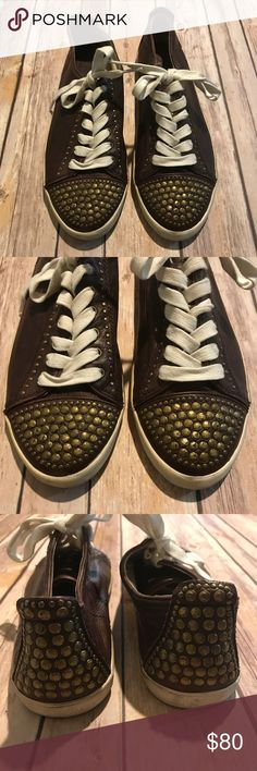 Frye Kira Studded Low Top Sneakers Leather Shoes Beautiful Frye Low Top Studded sneakers in style 'Kira'. Size 8.5 (fits true to size). Distressing is intentional part of design. Brown leather with gold studs for an edgy look. Gently worn two times, but in great condition. Frye Shoes Sneakers