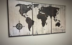 Religoius Wall Art, World Map Wood Wall Art, CARVED, Wooden map, Wooden, 3 Panel, Shabby Chic, Rustic, Distressed, Adventure & Travel Decor by HowdyOwl on Etsy