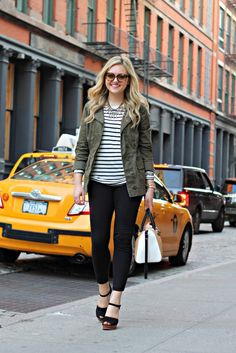 Striped Tee with Army Jacket