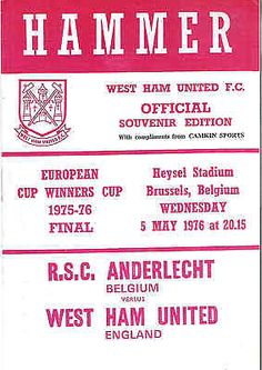 ANDERLECHT v WEST HAM UNITED European cup winners cup FINAL 1976 West Ham Ed