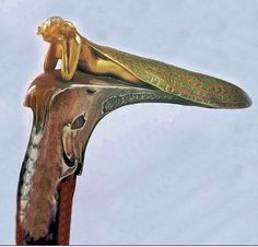 Lalique dragonflylady walking stick