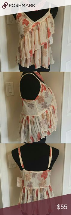 NWT Free People Layered Chiffon Lightweight Blouse Gorgeous,  feminine and pretty layered flowy blouse from free people. Fully adjustable straps to fit absolutely perfectly. Feel free to make an offer! Free People Tops