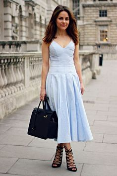 A baby blue dress sandals – Woman dress magazine Pastel Maxi Dresses, Blue Dress Outfits, Baby Blue Dresses, Blue Summer Dresses, Light Blue Dresses, Outfit Summer, Dress Summer, Flowing Dresses, Black Dress With Heels