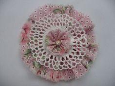Shabby Blume Vintage Applikation Tischdeko Perle Verzierung Landhaus Handarbeit