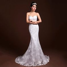 Trumpet/Mermaid Sweetheart Floor-length Tulle and Satins Wedding Dress - CAD $ 222.39