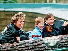 SPLASH MOUNTAIN Always making sure her boys balanced their royal duties with play, Diana had Harry and William bracing themselves for a thrilling – and wet! – day at Britain's most popular amusement park, Thorpe Park, in 1993.