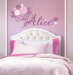 Flowers Personalized Custom Name Vinyl Wall Decal Sticker for Nursery, Girl's or…