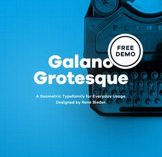 Galano Grotesque is a geometric sans in the tradition of Futura, Avant Garde, Avenir and the like. It has a modern streak which is the result of a harmonization of width and height especially in the lowercase letters to support legibility.