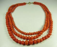 Korallenkette Vintage Kette Koralle 50er 60er coral necklace Halskette 47C N4
