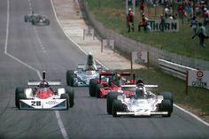 Mario Andretti Parnelli with John Watson, Carlos Pace & Jacques Laffite behind Mario Andretti, Aston Martin, Bristol, Ferrari, Formula 1 Car, Classic Motors, F1 Drivers, F1 Racing, Indy Cars