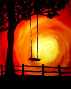 Looks like the exact picture of the swing on the farm where my grandparents lived. Happy Memories. Paint Nite Boston   Ashlee Merchant