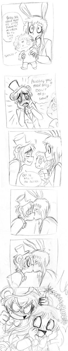 by shadowpiratemonkey7   XD Did you hurt the poor child to kiss Freddy? Or did you ask him to help you?