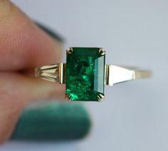 Natural Emerald Diamond Ring, Emerald Engagement Ring with Natural Emerald, Artdeco Emerald Ring, Artdeco Engagement Ring Jewelry Rings, Fine Jewelry, Emerald Diamond, Emerald Cut, Uncut Diamond, Emerald Rings, Garnet Rings, Ruby Rings, Ring Verlobung