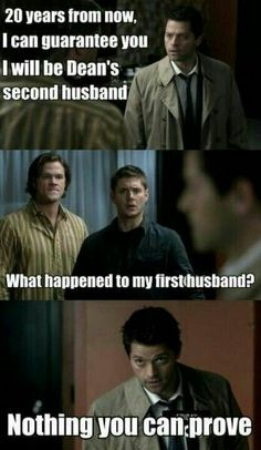 I don't even watch this show, much less ship destiel, but this just made me do a weird snort chuckle so im repinning.