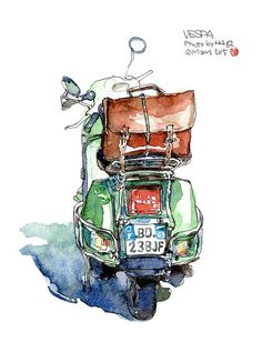 The back of the old Weiss A green Vespa – – cybertruck Watercolor Sketchbook, Pen And Watercolor, Watercolor Illustration, Watercolor Paintings, Vespa Illustration, Art Sketches, Art Drawings, Landscape Drawings, Arte Sketchbook