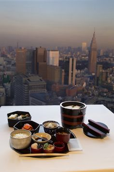 Japanese Breakfast at the Park Hyatt 41st Floor, Tokyo, Japan
