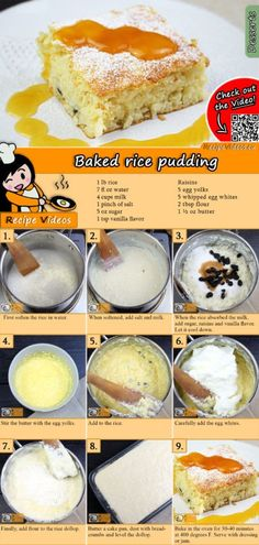 The Baked rice pudding is a classic, traditional Hungarian dessert you should make if you want something light! You can easily find the Baked Rice Pudding recipe by scanning the QR code in the top right corner! Pudding Desserts, Pudding Recipes, Dessert Recipes, Hungarian Desserts, Hungarian Recipes, Arroz Frito, Rice Recipes For Dinner, Rice Cakes, Sweet Desserts
