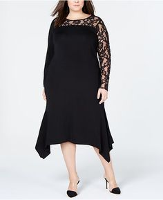 81717ed51ab INC International Concepts I.n.c. Plus Size Lace-Inset Sweater Dress