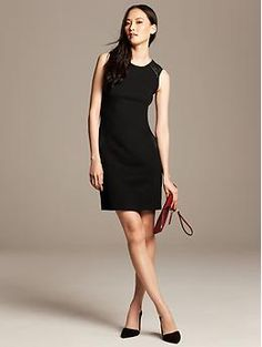 I love the faux-leather on the pockets and shoulders. Faux-Leather Trim Dress