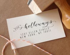 Handwritten Calligraphy Address Stamp -- Mixed Calligraphy and type - Modèrne Style