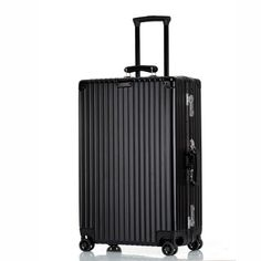 Aluminum frame+PC Shell Vintage Leather handle Luggage,Classic groove design Suitcase,Nniversal wheel Password Lock Travel Bag