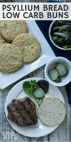 A recipe for psyllium bread based low carb buns with a texture and taste close to wheat based ones. Slice them in half to use as hamburger rolls! | LowCarbYum.com via @lowcarbyum