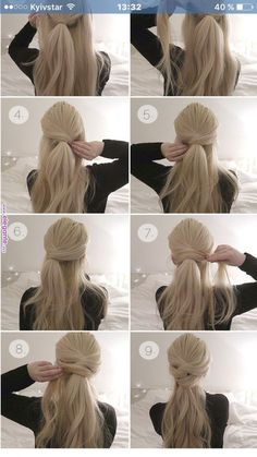 Brautfrisur - beautiful hair styles for wedding Diy Hairstyles, Ladies Hairstyles, Hairstyles 2018, Easy Ponytail Hairstyles, Quick Easy Hairstyles, Hairstyles Videos, Easy Updos For Long Hair, Popular Hairstyles, Easy Hair Styles Long
