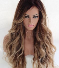 100% Brazilian Remy Human Hair Wavy Ombre Long Wavy Lace Front Wig Full Lace Wig #HotQueen #FullWig