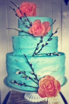 Turquoise and coral cake idea