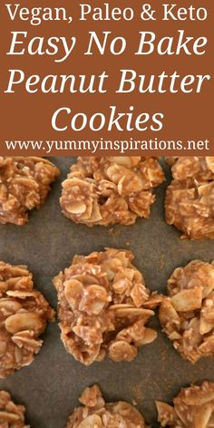 Easy No Bake Peanut Butter Cookies Recipe - Low Carb Vegan Paleo Gluten Free & Keto friendly too! Easy No Bake Peanut Butter Cookies Recipe - Low Carb Vegan Paleo Gluten Free & Keto friendly too! Keto Cookies, No Bake Cookies Recipe Peanut Butter, Healthy No Bake Cookies, Healthy Cookie Recipes, Cookies Et Biscuits, Healthy Baking, Low Carb Recipes, Vegan Recipes, Paleo Vegan