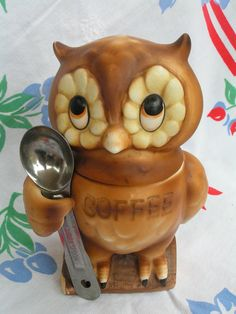 Vintage 70s Owl Coffee Canister Holder Jar