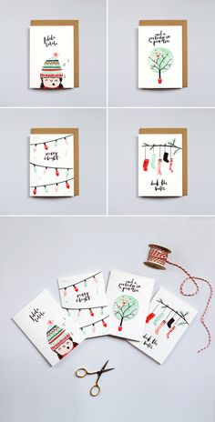 The Lovely Drawer Christmas Cards brush lettering illustration watercolour design art Christmas idea Watercolor Christmas Cards, Christmas Card Crafts, Xmas Cards, Christmas Art, Diy Cards, Holiday Cards, Christmas Decorations, Watercolor Cards, Christmas Calligraphy Cards