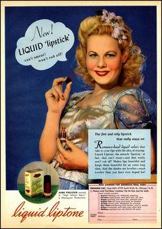 June Preisser for Liquid Liptone Lipstick by Princess Pat 1940s Makeup, Vintage Makeup Ads, Retro Makeup, Vintage Beauty, Vintage Ads, Vintage Vanity, Vintage Posters, Love Vintage, Vintage Vogue