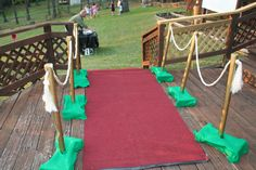 "Our red carpet leading to the ""outdoor theater"". Poles are made from PVC pipe. Kids brought chairs and blankets to sit on in the yard."