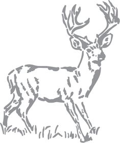 Glass etching stencil of Standing Buck. In category: North American Mammals
