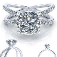 X Engagement Ring Setting with Cushion Cut Forever One Moissanite Center Gem and side accent diamonds