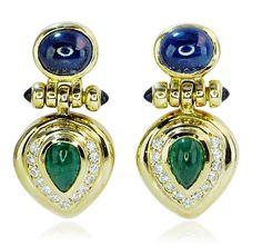 Earrings Diamond Smaragd Sapphire    Gelbgoldene Ohrstecker Diamanten Smaragd Saphir Cabochons