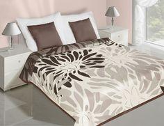 Hnedo krémový prehoz na posteľ obojstranný s motívom
